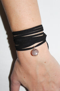 Choker or Wrap Bracelet - Black with Marbled Stone