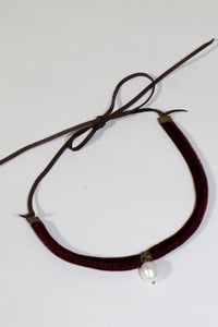 Choker or Wrap Bracelet - Dark Plum Velvet with Pearl