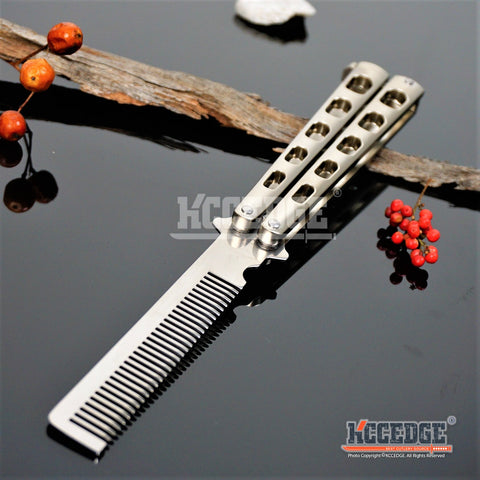 High Quality Practice BALISONG METAL BUTTERFLY Comb Steel Trainer Knife