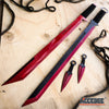 "Image of 2PC 27"" FULL TANG NINJA SWORD COMBO TANTO BLADES w/2 Throwing Knives"