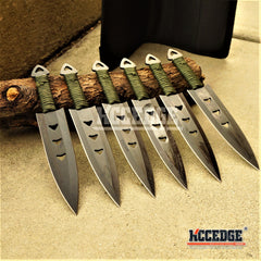 "6PC 6"" Black Throwing Knife Set with Leg Sheath"