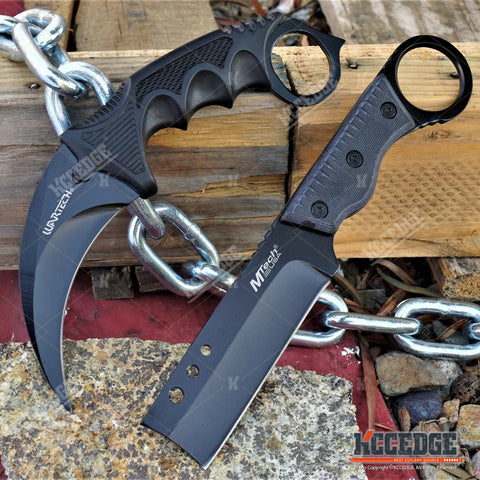 "2PC COMBAT SET 7.5"" KARAMBIT Hawk Claw + 8"" SHAVER FIXED BLADE CLEAVER KNIFE"