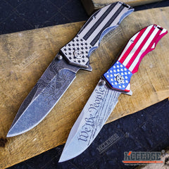 "PATRIOTIC OUTDOOR 9"" POCKET FOLDING KNIFE Proud of America US FLAG We The People"