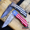 "Image of PATRIOTIC OUTDOOR 9"" POCKET FOLDING KNIFE Proud of America US FLAG We The People"