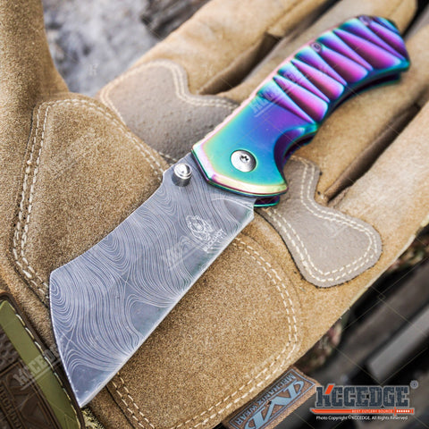 "MINI CLEAVER 6.5"" CAMPING HUNTING BUCKSHOT Pocket Folding Knife Assisted Open"