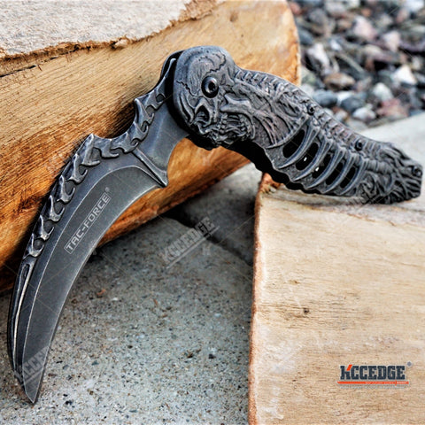"8.25"" Etched SKELETON and SKULL STONEWASHED KARAMBIT CLAW POCKET Knife"