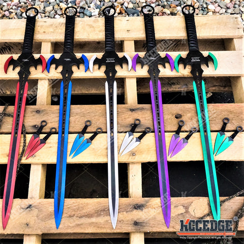 "29.75"" HERO EDGE FANTASY SWORD + 2 Throwing Knives DUAL BLADE Technicolor KATANA"
