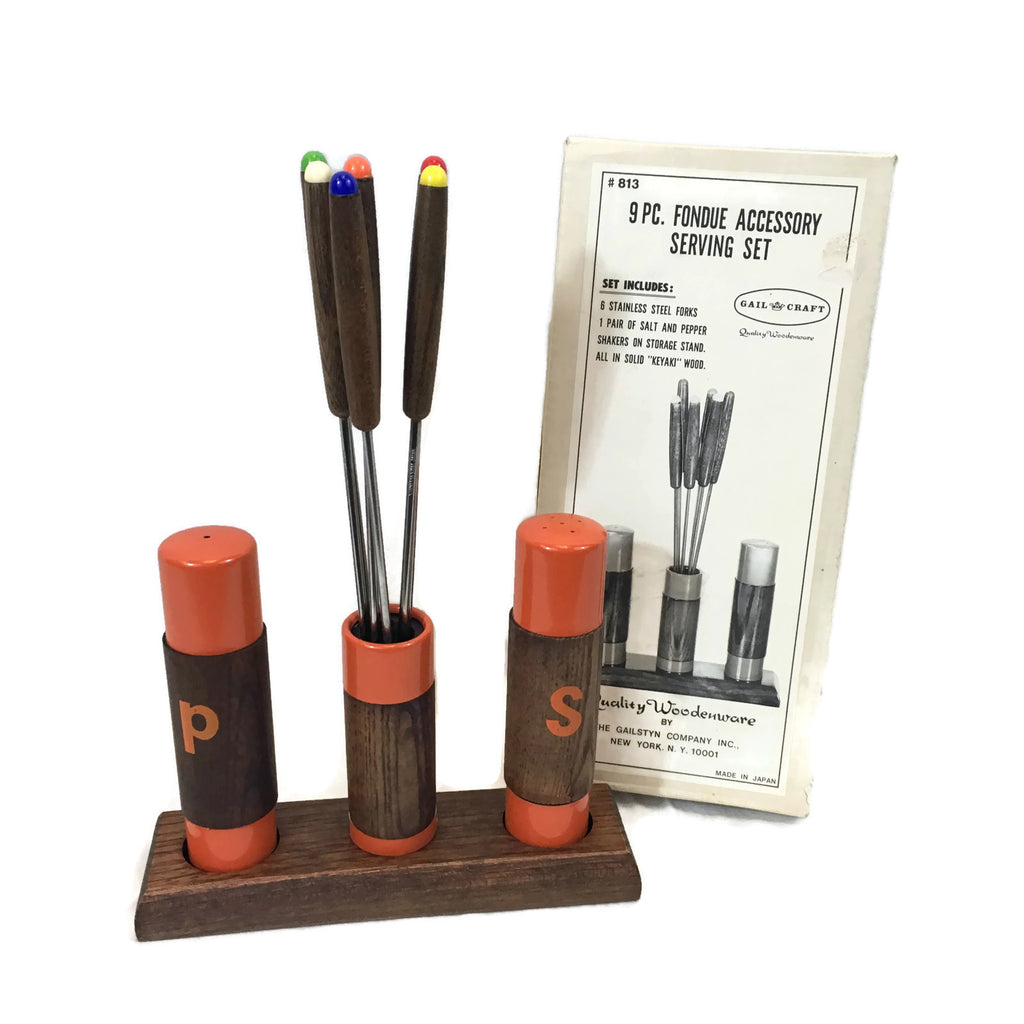 Vintage 9 PC. Fondue Accessory Serving Set With Fondu forks, salt and pepper shakers & Original Box