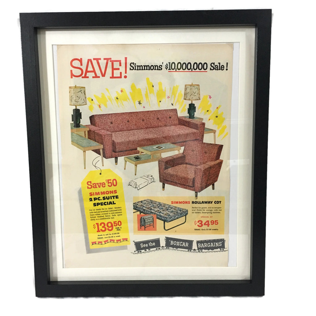 Framed Vintage Simmons Mid Century Modern Furniture Advertisement