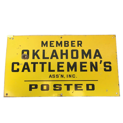 Vintage Oklahoma Cattlemen's Association Porcelain Sign