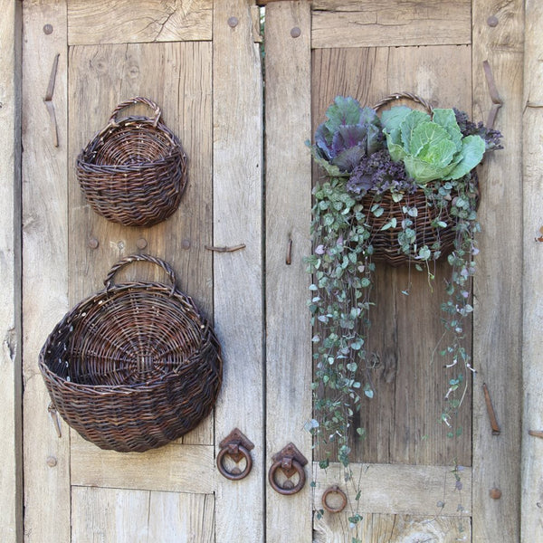 Willow Round Wall Baskets - Set of 3 - Natural