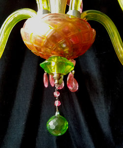 "Crystal Chandelier Lighting, Pink and Green Jeweled, One of a Kind, 24""w. x 25""h."