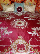 "Red Bohemian Bedspread, Italian, Raw Silk, Reversible, 89""w. x 96""l."