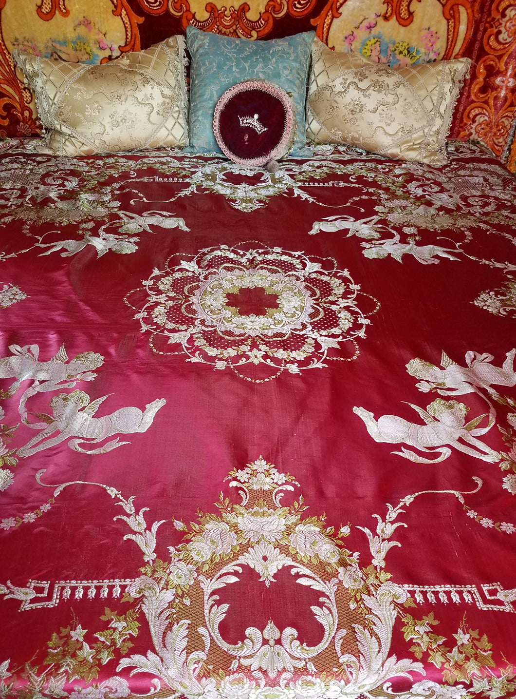 Red Bohemian Bedspread, Italian, Raw Silk, Reversible, 89
