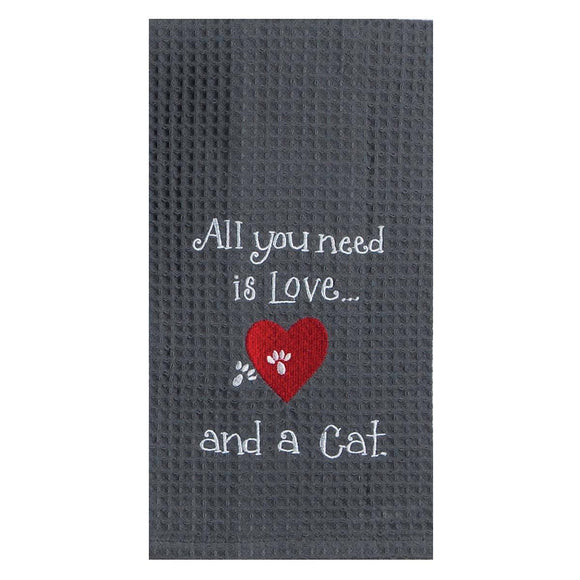 Love Cat - Embroidered Waffle Cotton Towel