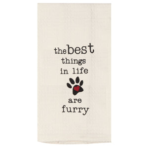 Best Things in Life are Furry - Embroidered Waffle Cotton Towel