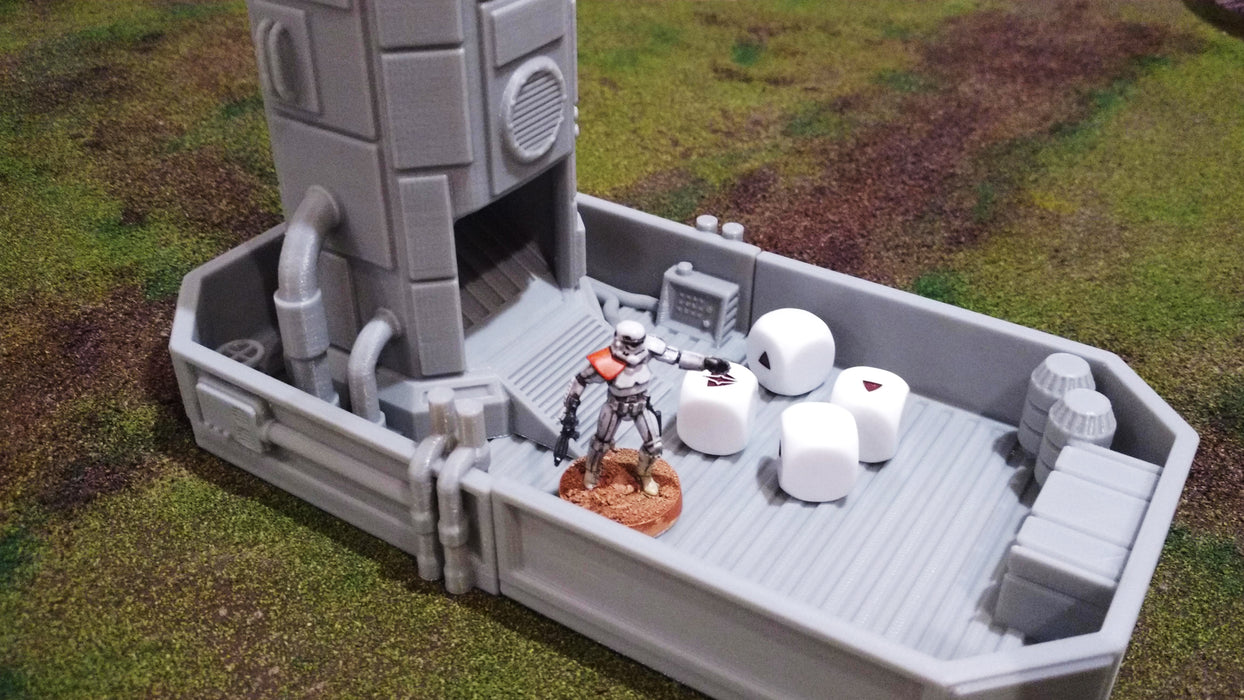 Corvus Games Terrain 3D printable Pumping Station Dice Tower for Star Wars Legion, 40K and Necromunda