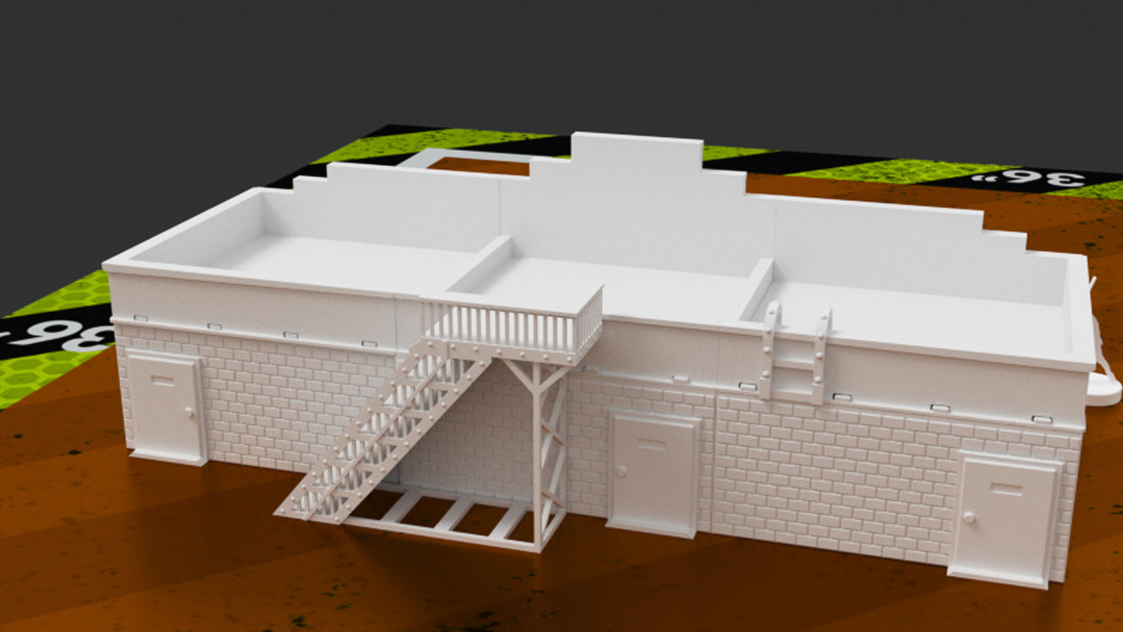 Corvus Games Terrain 3D printable Strip Mall for 28mm tabletop wargames like Fallout, The Walking Dead, This Is No A Test, Last Days Zombie Apocalypse