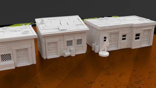 Corvus Games Terrain 3D printable scenery Shanty Town buildings for Star Wars Legion, Fallout, Last Days, This is Not a Test, and Warhammer 40K