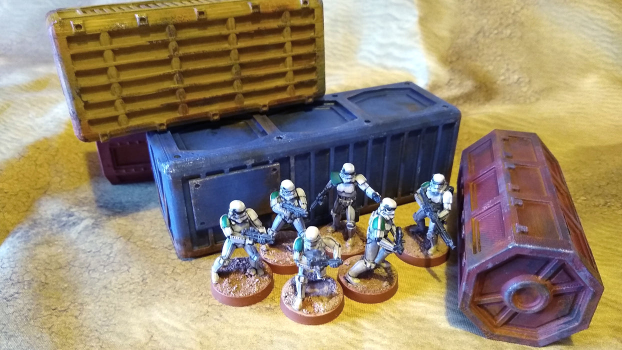 Corvus Games Terrain 3D printed scifi cargo shipping containers for Star Wars Legion, Warhammer 40K, Kill Team and Infinity
