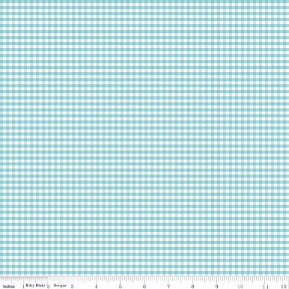 Gingham Aqua 1/8 inch Small Yardage by Riley Blake Designs C440-20 - PRICE PER 1/2 YARD