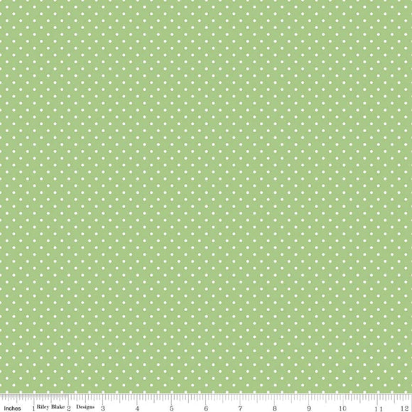 Swiss Dot Green Yardage by RBD for Riley Blake Designs C670 - PRICE PER 1/2 YARD