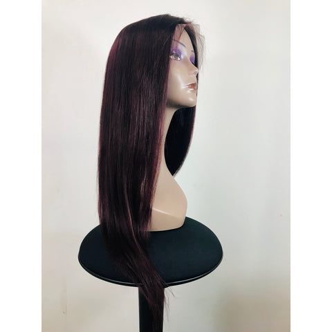 "Lace Front Human Hair 150% Density Wig 18"" Straight - Colour 99J"