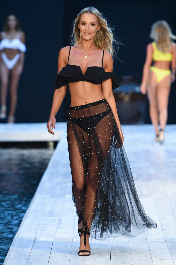 Covet Shoes Georgia Gravanis Miami Swim Week 2019 wearing INDY Black