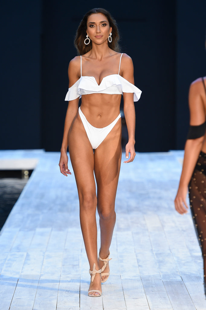 Covet Shoes Miami Swim Week wearing INDY Nude