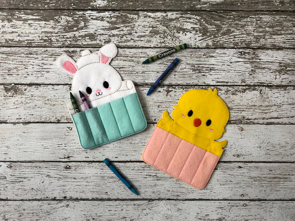 Easter Bunny and Chick Crayon Holders