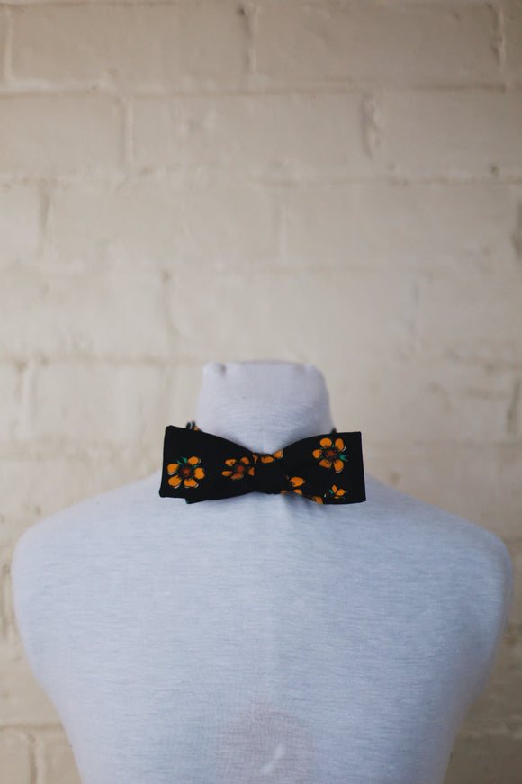 Bow Tie - Black with Orange Flowers
