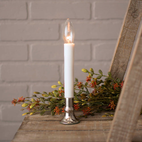 Antique Silver Welcome Candle Lamp, 7-inch, Plug-in, Automatic Sensor
