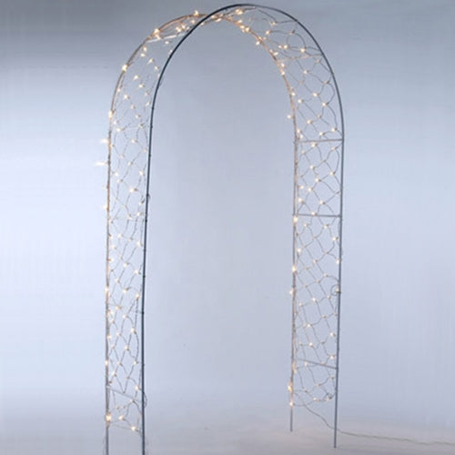 Lighted Wedding Arbor Archway, 8 ft., White Frame, White Lights