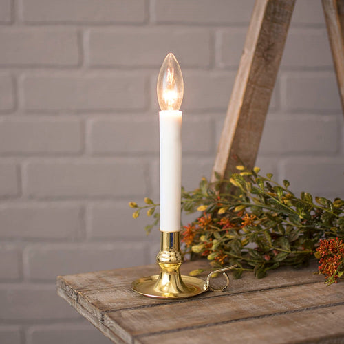 Colonial Chamber Candle Lamp with Brass Plated Base, 7 in., Plug-In