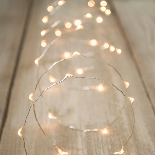 LED Fairy Lights, Plug-in, Silver Wire, 20 Foot, Warm White