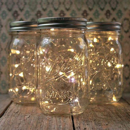 Mason Jar Fairy Lights, Pint Small Mouth, Warm White, Set of 3