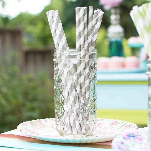 Paper Party Straws, Striped, Pack of 24, Gray