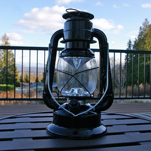 Hurricane Lantern Light, 9.5 inch Black Metal, Battery Op. Dimmable LED
