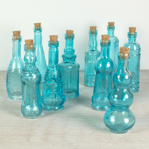 Glass Bottles with Cork, Vintage Bud Vases, 5.5 inch, Blue, 10 pieces