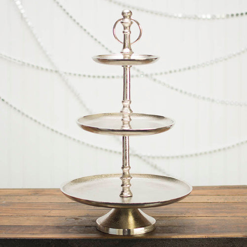 Round Serving Tray, Three Tier with Pedestal Base, 20 in. Tall, Silver