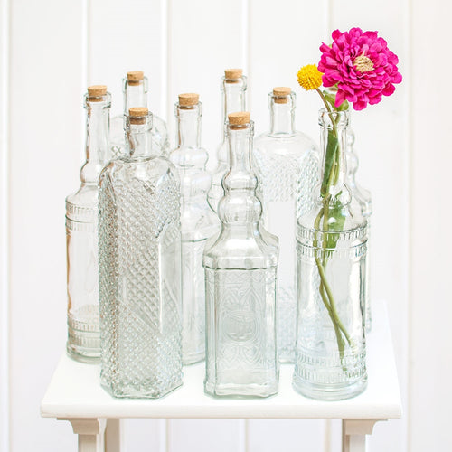 Vintage Decanter Bottles, Asst 12in Glass Apothecary Vases, Clear, 12Pk