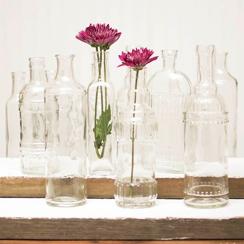 Vintage Decanter Bottles & Bud Vases, Clear Glass, Assorted, Set of 12