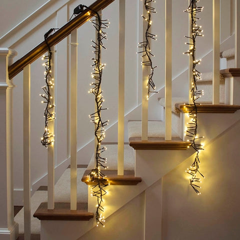 LED Garland String Lights, 24 ft White Wire, Warm White