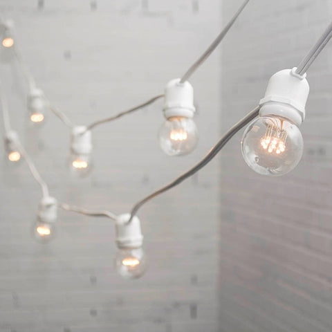 Commercial Drop String Lights, Acrylic Edison LED, 106 ft, White Wire, Cool White