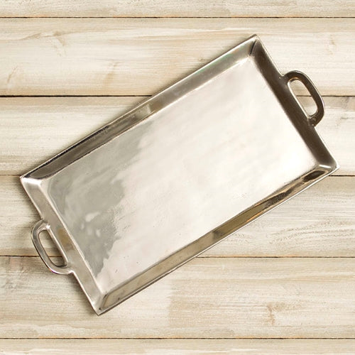 Metal Serving Tray, 18.5 x 10.75 inches, Rectangle Platter, Silver