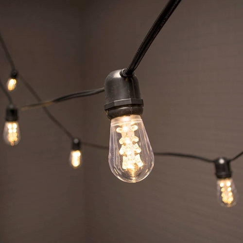 Commercial Edison String Lights, Acrylic LED, 106 ft, Black Wire, Warm White