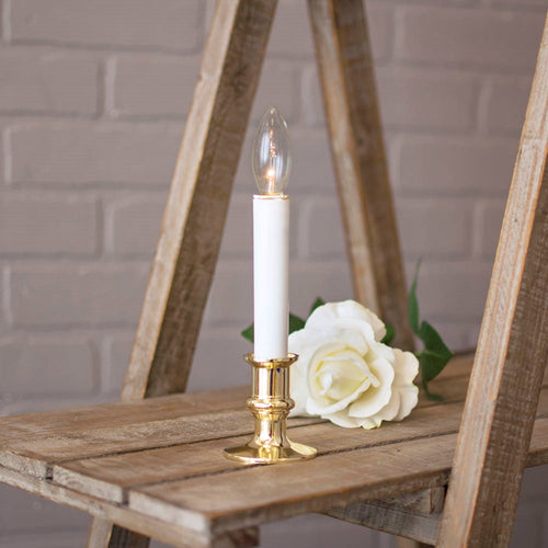 Welcome Candle Lamp with Gold Colored Base, 8.5 inch, Battery Operated