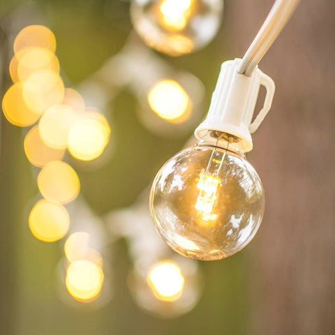 Commercial LED Globe String Lights, 100 Ft White Wire, 2 in bulb, Warm White