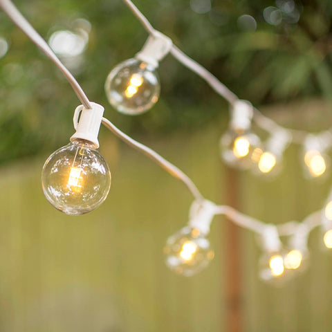 Commercial Drop Globe String Lights, 48 Foot White Wire, 2 inch Clear Bulbs
