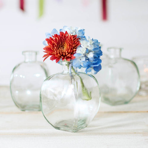 Glass Bud Vase, Angular Bottle, 3 in. wide x 4.5 in tall, Clear, 6 pk